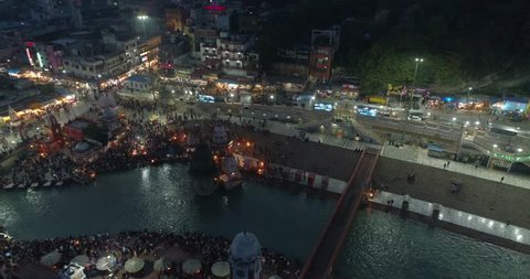 Haridwar looking more beautiful at night. Haridwar is an important Hindu pilgrimage site in North India's Uttarakhand state, where the River Ganges exits the Himalayan foothills.