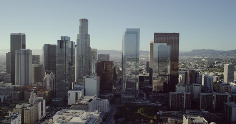 Downtown Los Angeles epic aerial wide shot POV AERIAL view of skyscrapers in city US Bank Building Staples Center Ritz Carlton LA in United States