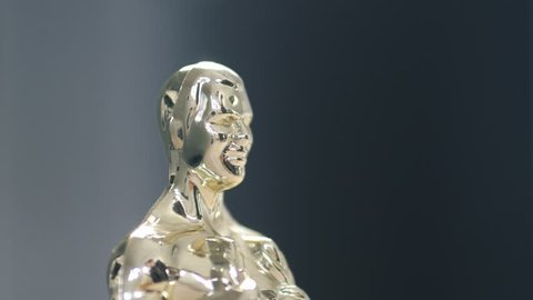 MONTREAL, CANADA - February 2019 : The famous Oscar award statue. Camera turning around the figure.