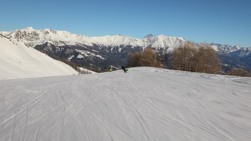 Sking in the French Alps, first person point of view | Shutterstock HD Video #1024038998
