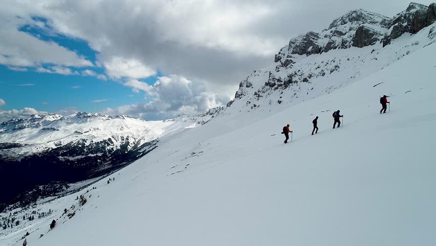 sporty mountain hiking team #1024040288