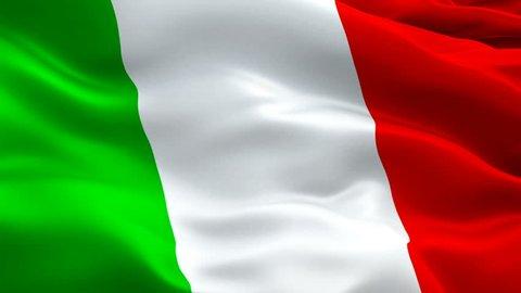 Italian flag waving in wind video footage Full HD. Realistic Italian Flag background. Italy Flag Looping Closeup 1080p Full HD 1920X1080 footage. Italy EU European country flags Full HD