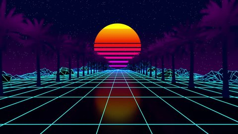 Glowing neon, light grid landscapes  palms  animation grid, 80s retro  sci-fi background  cyberpunk  retrofuturism  synthwave  retrowave  looping  animation