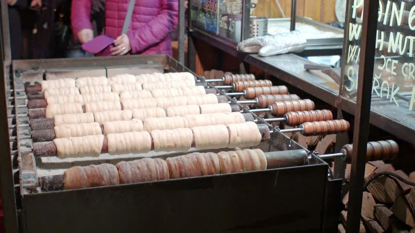 Making of trdelnik on Christmas food market in Czechia | Shutterstock HD Video #1024147658