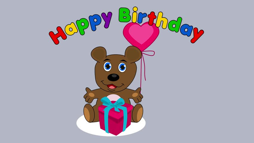 Teddy bear celebrating a birthday - animation | Shutterstock HD Video #1024148948