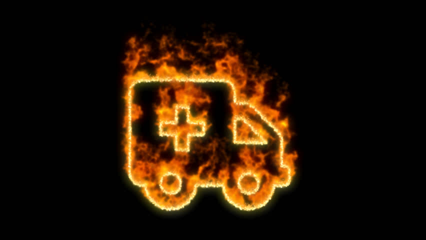Ambulance car symbol inflames. Then disappears. In - Out loop. Alpha channel Premultiplied - Matted with color black | Shutterstock HD Video #1024154978