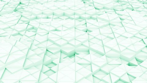 Looping wavy low polygonal 3D animation.Seamless abstract bright background.Beautiful geometrical Low poly triangle surfaces.Green