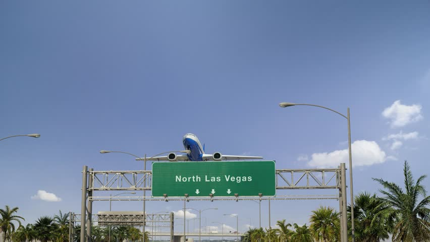 Airplane Take off North Las Vegas | Shutterstock HD Video #1024167668