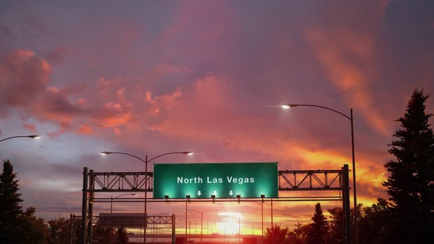 Airplane Landing North Las Vegas during a wonderful sunset | Shutterstock HD Video #1024167728