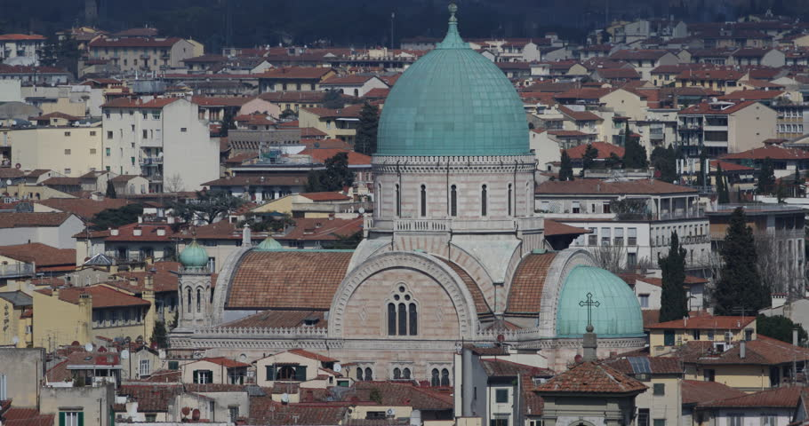 Aerial View of Florence City Skyline Great Synagogue Famous Italian Landmark Day | Shutterstock HD Video #1024207628