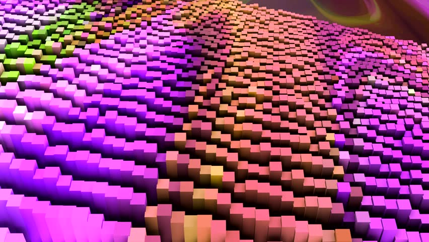 dance of colored cubes on the screen