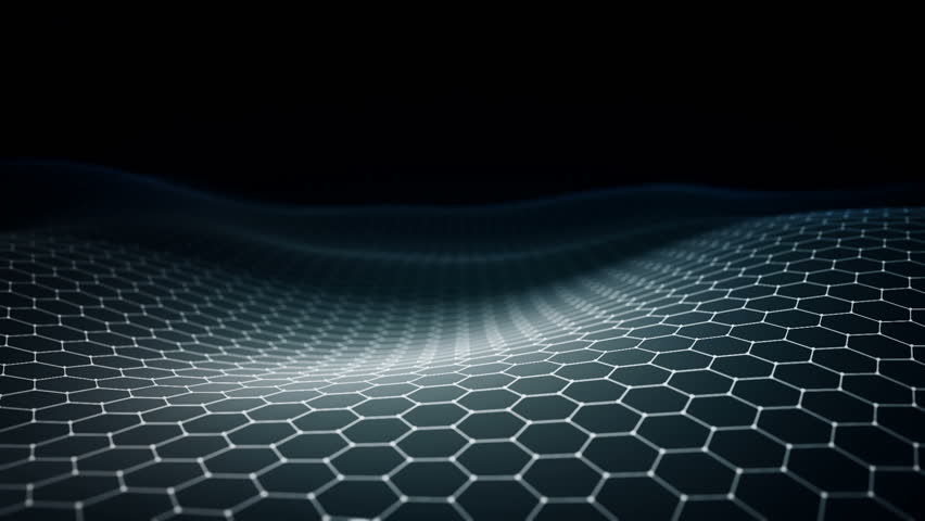 Abstract background with animation of waving surface from blinking hexagons. Technologic electricity backdrop. Seamless loop. | Shutterstock HD Video #1024277588