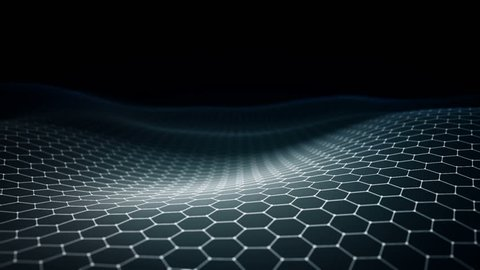 Abstract background with animation of waving surface from blinking hexagons. Technologic electricity backdrop. Seamless loop.