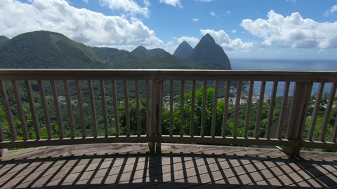 The Piton Mountains on the tropical Caribbean Island of St. Lucia.