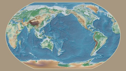 Gambia area presented against the global physical map in the Kavrayskiy VII projection with animated oblique transformation