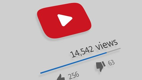 HILTON KWAZULU-NATAL/SOUTH AFRICA - JANUARY 25 2019: A motion graphic video animation illustrating growing like and share popularity on the Facebook Google+ Youtube and Twitter social media