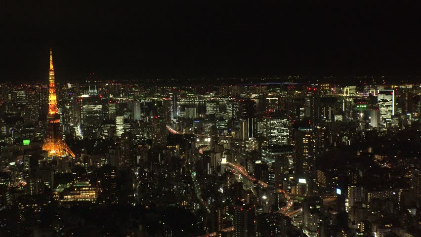 TOKYO,  JAPAN - CIRCA FEBRUARY 2019 : Aerial view of CITYSCAPE of central area in TOKYO.  View from Roppongi area.