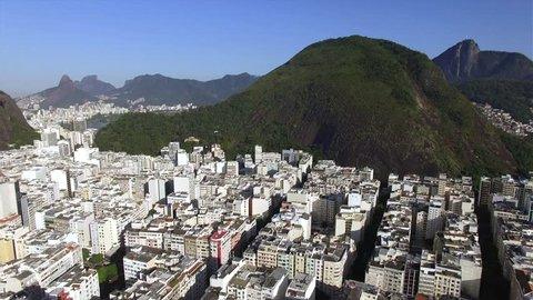 Beautiful Tropical Beach Landscape, Mountains, Luxury Buildings in Copacabana Beach, Rio de Janeiro, Brazil South America.