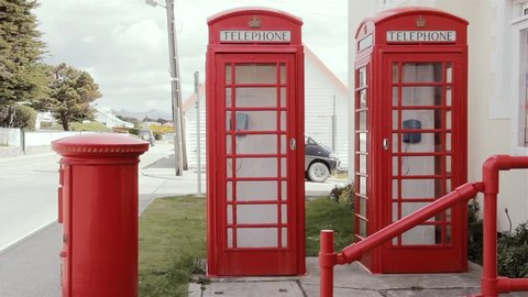 Post Office and Red Telephone Boxes in Stanley or Port Stanley Capital of the Falkland Islands. UK.