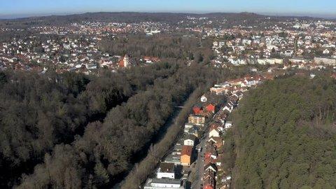 Aerial flight over Dillweissenstein. Camera pans right.