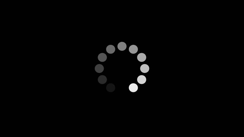 Loading Circle. Twelve animated dots fading in and out in sequence creating a rotating effect.