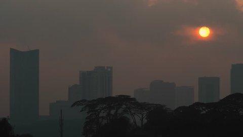 Johor Bahru, Johor / Malaysia - 09 26 2018: Johor Baru City, Malaysia Sunrise Timelapse
