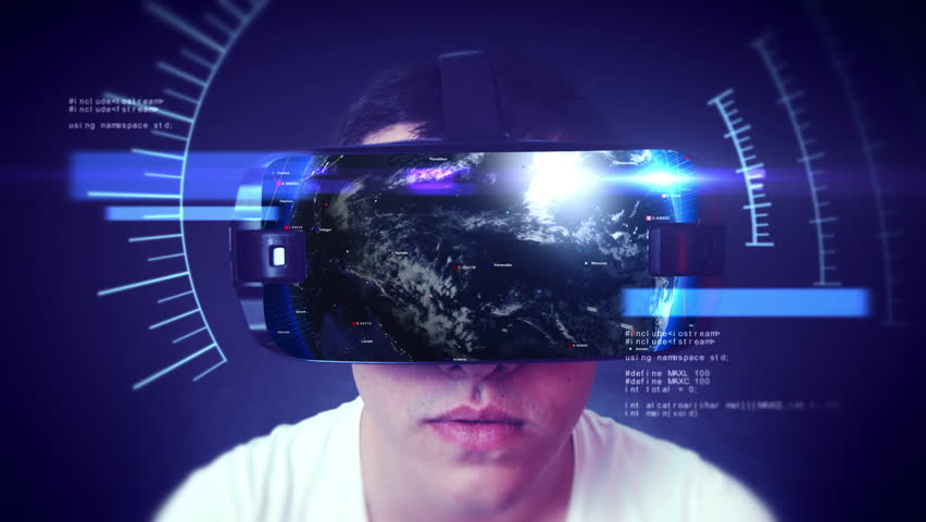 Close-up shot of a young man wearing VR Headset experiencing 3D virtual reality. Technology related digital earth network concept. Loop.   Shutterstock HD Video #1024578668