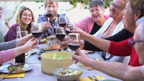 Different age of people cheering with red wine at barbecue dinner outdoor - Happy family having fun at sunday meal drinking and eating together - Food, taste and summer concept - Slow motion