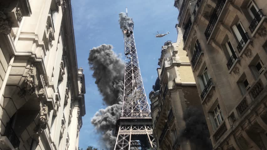 Paris Eiffel tower under attack Powerful Video Compositing simulates real video footage with visual effects elements of Paris Eiffel tower Destroyed after attack with smoke debris and Helicopter