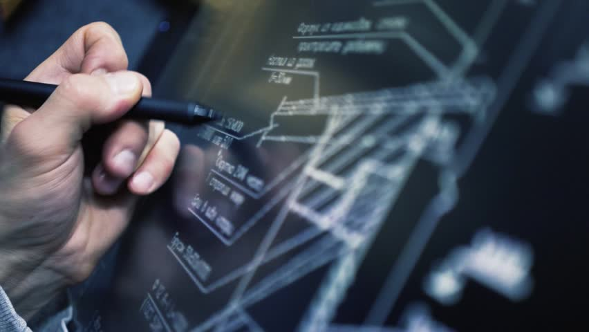 Close up Architect Using creative pen display Tablet Working with drawings in office. Architecture Blueprint Drawing On interactive Screen Computer | Shutterstock HD Video #1024676168