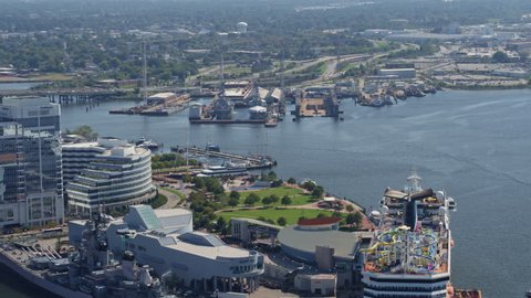 Norfolk Virginia Aerial v38 Cityscape of downtown Norfolk with boats 10/17