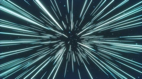 Colorful Space Travel Through Stars Trails. Beautiful Abstract Hyperspace Jump. Digital Design Concept. Seamlees Loop 3d Animation of Glowing Lines 4k UHD 3840x2160.