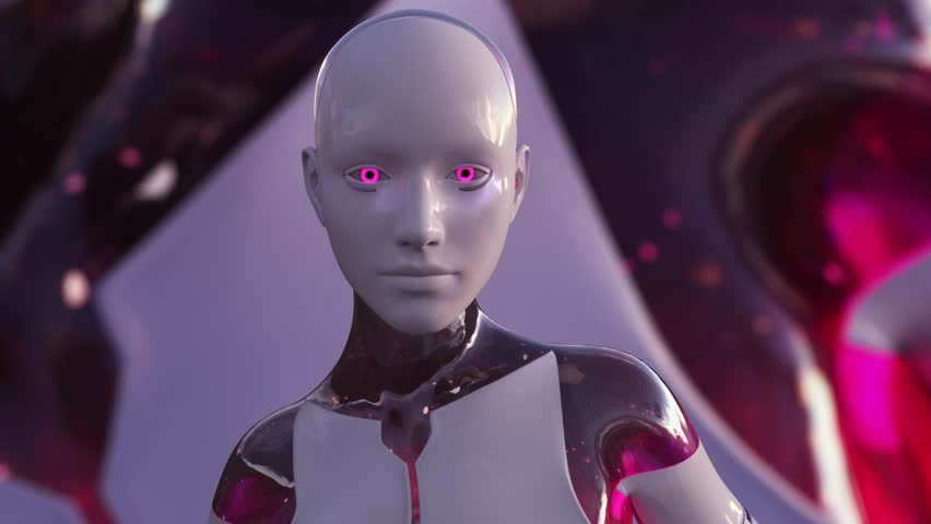 4K Color Changing Female Artificial Intelligence AI Android   Shutterstock HD Video #1024740908