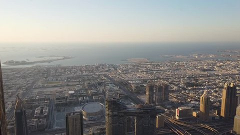 United Arab Emirates - February 5, 2019 : View from at the top - Burj Khalifa the 124th floor of Burj Khalifa skyscraper in Dubai. With acceptable dust, dirt, moisture and reflection.