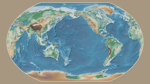 Spain area presented against the global physical map in the Kavrayskiy VII projection with animated oblique transformation