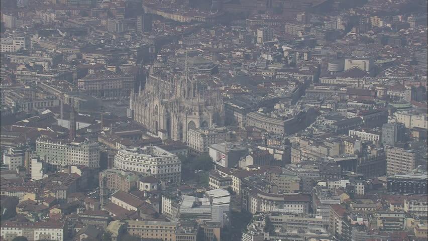 AERIAL Italy-Approaching Milan Cathedral 2007: Duomo of Milan