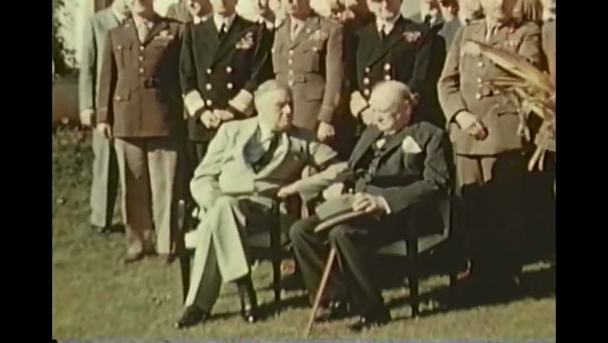 CIRCA 1943 - FDR visits Morocco for high level meetings with Allied strategists in World War Two. Good footage of Winston Churchill.