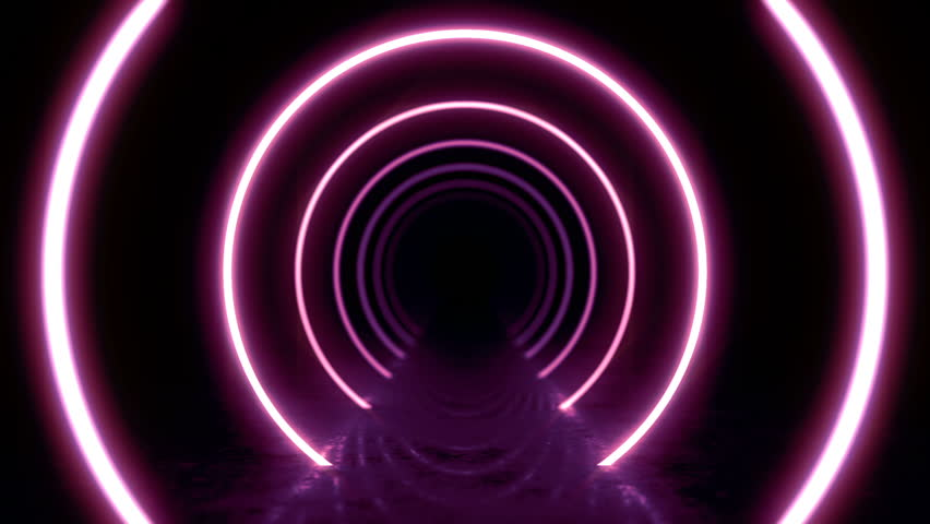 Abstract background with animation of flight in abstract futuristic tunnel with neon light. Animation of seamless loop.  #1025051078