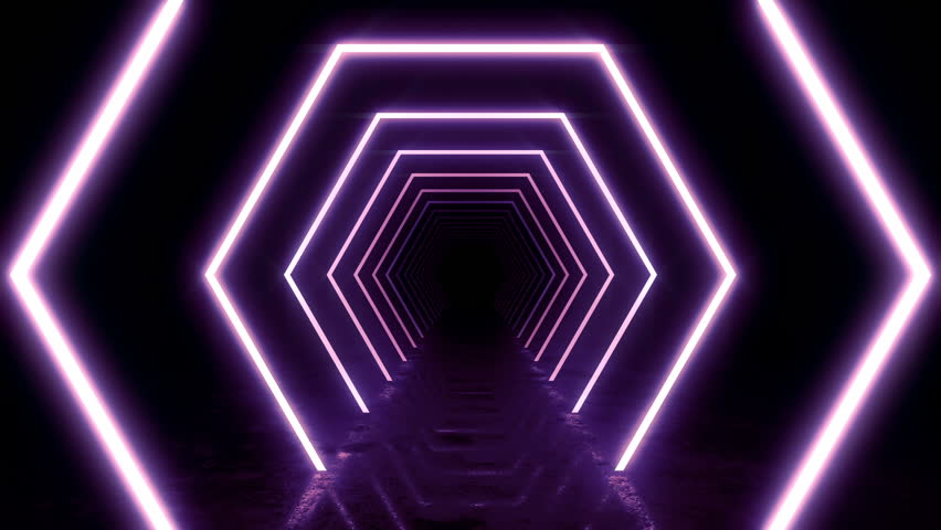 Abstract background with animation of flight in abstract futuristic tunnel with neon light. Animation of seamless loop.  | Shutterstock HD Video #1025051288