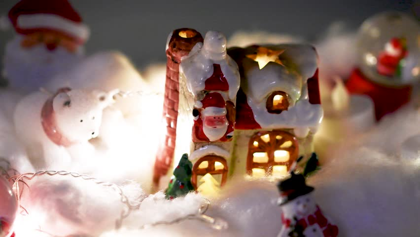 Beautiful flashing lights of a Christmas decoration. Flat plane. Blurred effects