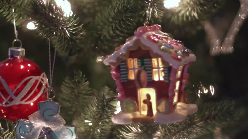 Gingerbread House Ornament Hanging On Stock Footage Video 100 Royalty Free 1025156048 Shutterstock