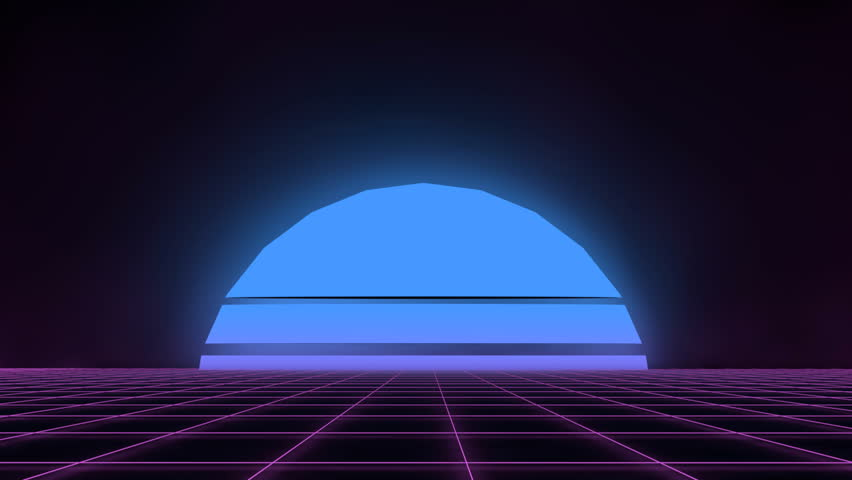 80's Retro futuristic background with glitch effect. Motion above light grid surface. Beautiful animation with neon lights. Synthwave and retrowave stylization. Rising neon moon against dark backdrop.