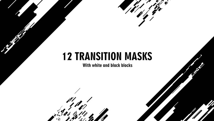 12 futuristic transition masks. Abstract motion graphics and animated background with white and black block figures. Transition monochrome masks templates 4K. See more  in my portfolio