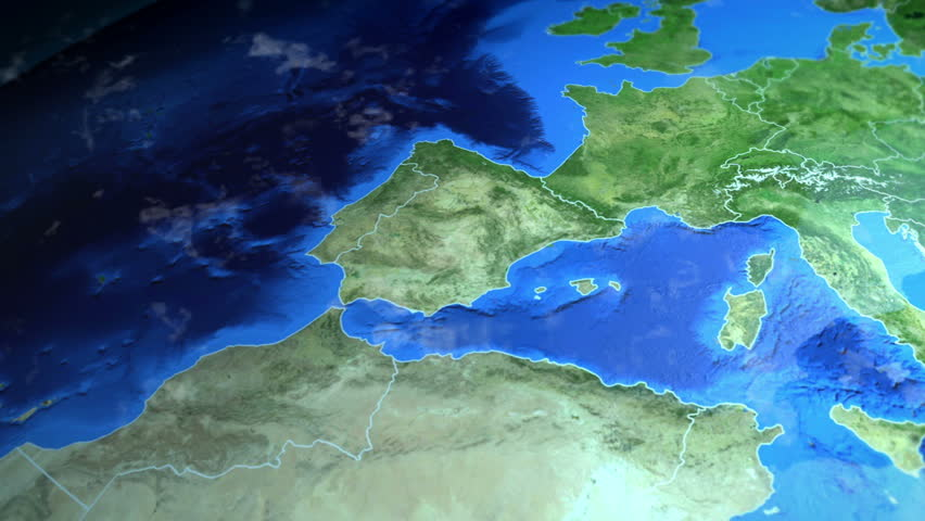 3d Map Of Spain.Spain On The Europe Map Stock Footage Video 100 Royalty Free 1025270438 Shutterstock