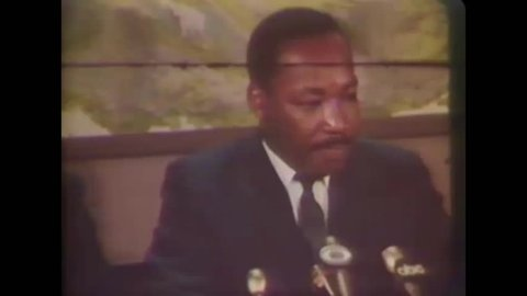CIRCA 1968 - In an interview with the press, Martin Luther King speaks on -