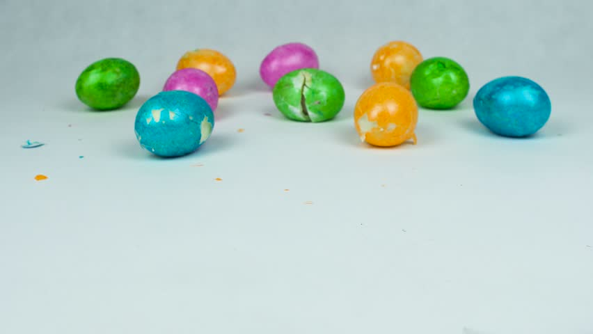 Broken Decorated Eggs During Christian Stock Footage Video 100
