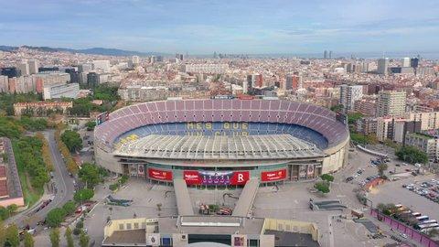 Aerial shot of FC Barcelona's football stadium - Camp Nou, in Barcelona. February12, 2019.