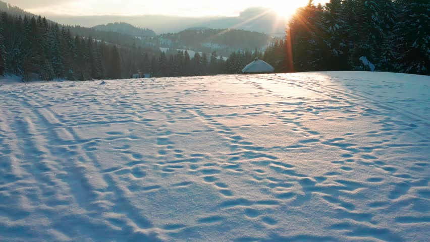 Winter scenery in Silesian Beskids mountains. View from above.    Shutterstock HD Video #1025423768