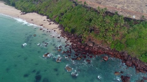 Aerial view. The ocean waves are washed by a steep bank covered with palm trees. Tropical bay of sea in Goa, India.