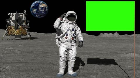 Astronaut walking on the moon and saluting the Green Screen Flag.